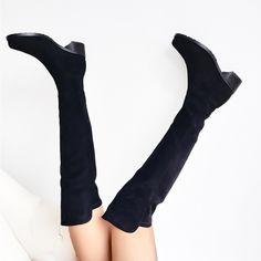Cizme peste genunchi din piele naturala stretch. Toc de 4.5cm. Knee Boots, Gloves, Fashion, Caviar, Moda, Fashion Styles, Knee Boot, Fashion Illustrations, Knee High Boots