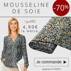 *** 3 Jours - 1 Prix - 1 Produit *** Profitez-de notre promo à -70% sur la mousseline de Soie ! 4.90 € le mètre au lieu de 16.50€ ! C'est maintenant !!!