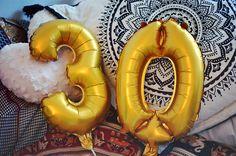 #30 #birthday #golden #balloons