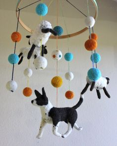 Border Collie herding sheep - felt baby mobile
