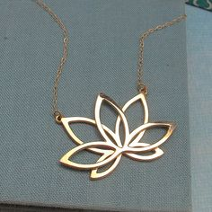 Golden Lotus Neckalce in 14k GP by Laladesignstudio on Etsy