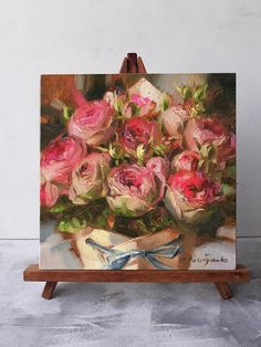Roses flower oil painting original art Floral painting Pink