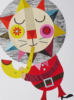 Ellen Giggenbach - Santa cat playing a saxophone - cannot get much better...