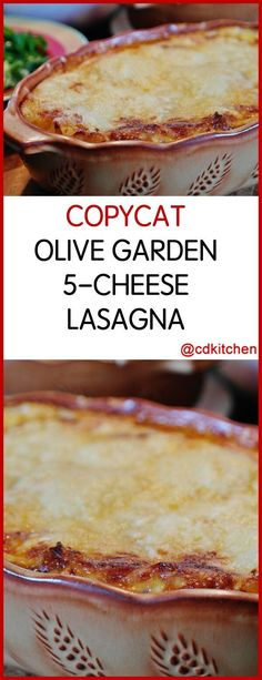 Copycat Olive Garden Lasagna This copycat lasagna is loaded with Fontina Mozzarella Ricotta Parmesan and Romano cheeses Four Cheese Lasagna Recipe, Lasagna Recipe With Ricotta, Spinach Lasagna, Olive Garden Lasagna, Amazing Vegetarian Recipes, Yummy Recipes, Dinner Recipes, Olive Garden Recipes, Olives
