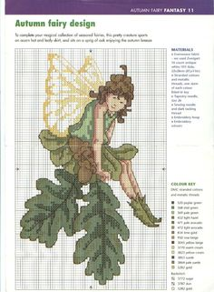 Cross-stitch Seasonal Fairies, part 4 - Autumn. Fantasy Cross Stitch, Cross Stitch Fairy, Cross Stitch Angels, Cross Stitch Flowers, Counted Cross Stitch Patterns, Cross Stitch Designs, Cross Stitch Embroidery, Stitch Doll, Cross Stitching