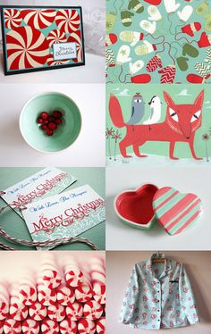 Christmas in Mint and Red colors --Pinned with TreasuryPin.com