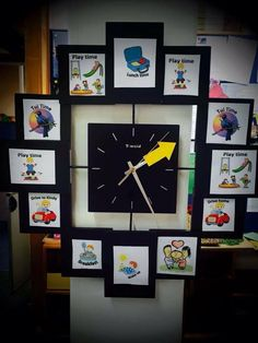 Kindy Clock- a picture schedule for Child Care or Preschool Says Sarah from Kid Forever Preschool in Mt Albert:Our kindy clock - the Tui time is when we read stories and have morning/afternoon tea the children LOVE telling us what it's time for. Toddler Classroom, Preschool Classroom, Classroom Decor, Preschool Family, Visual Timetable, Visual Schedules, Visual Schedule Autism, Reggio Emilia, Home Daycare