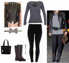 jaqueta couro, legging, camisa cinza, bota, cinto metal