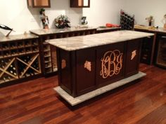Awesome DIY bar - made from reclaimed marble from Habitat! Too cool!