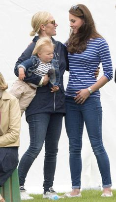There was no sign of six-week-old Princess Charlotte, which left the Duchess free to chat to Zara Phillips and her husband Mike Tindall,