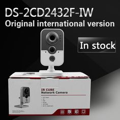 In stock DHL Free shipping DS-2CD2432F-IW English version 3MP IR mini cube cctv security POE camera, wireless ip camera #Affiliate