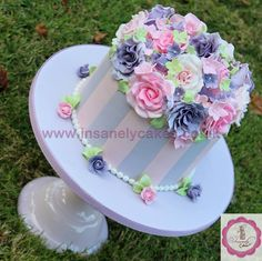 Pretty pastel pink 'n purple vintage floral celebration cake - by InsanelyCakes @ CakesDecor.com - cake decorating website
