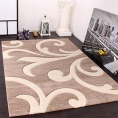 Tappeto Di Design Orlo Lavorato Moderno Ondulato Nei Colori Beige Crema , Dimension:80x150 cm: Amazon.it: Casa e cucina