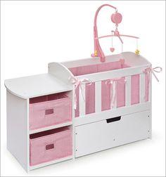 "Badger Basket Doll Crib with Storage Dresser and Trundle Drawer for 20"" Dolls"