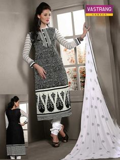 Black embroidered suit with matching dupatta