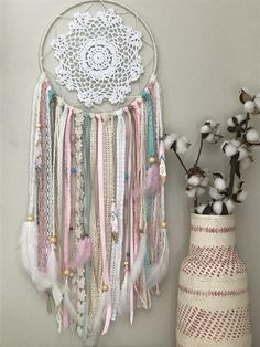 Large Pink and Blue Dream Catcher - Nursery Dream Catcher - Boho Pink Dream Catcher This is what dreams are made of. This boho-inspired dream catcher is a lovely addition to a beautiful nights sleep. Grand Dream Catcher, Dream Catcher Pink, Doily Dream Catchers, Dream Catcher Nursery, Dream Catcher Craft, Diy Dream Catcher For Kids, Making Dream Catchers, Los Dreamcatchers, Boho Dreamcatcher