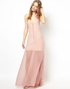 Pink Halter V Neck Backless Full Length Dress - Fashion Clothing, Latest Street Fashion At Abaday.com