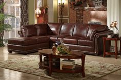 Caesar Palace American Style Leather Corner Sofa(1+3+rightchaise) - MelodyHome.com