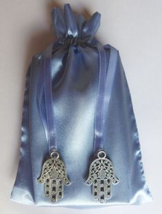Silver-Hamsa-Hand-Charm-Blue-Satin-Tarot-Pouch-Bag