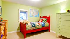 Green boys kids bedroom with red bed. Cute child boy green bedroom with red bed . Bedroom Apartment, Apartment Living, Diy Projects Apartment, Toy Room Organization, Bedroom Red, Green Bedrooms, Kids Bedroom Boys, Red Bedding, Toy Rooms