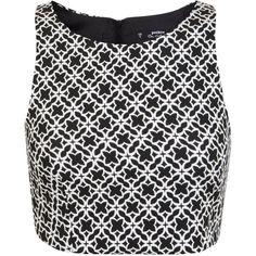 Miss Selfridge Petites Mono Zip Back Crop Top ($16) ❤ liked on Polyvore