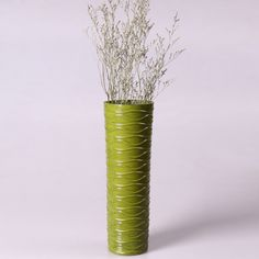 Adeco Decorative 14-inch Green Horizontal Wave Wood Vase