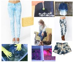 manieren om je jeans bleken, dop een stokje in bleekwater en maak bolletjes op je broek
