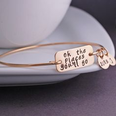 Oh the Places You'll Go Bangle Bracelet - Gold, Graduation Gift 2015 from georgie designs personalized jewelry