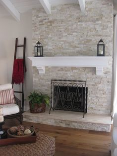 Stone Fireplace Makeover Removing Stone Fireplace Best Stone Fireplace Makeover Ideas On Fireplace Redo Stone Fireplace Mantles And Mantle Diy Stone Fireplace Makeover Reface Brick Fireplace, White Stone Fireplaces, Brick Fireplace Makeover, White Fireplace, Fireplace Remodel, Living Room With Fireplace, Fireplace Design, Fireplace Ideas, White Mantel