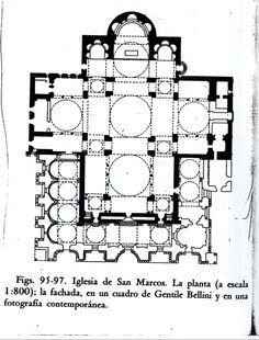 Arte Bizantino. Planta de la iglesia de San Marcos de Venecia: del siglo XI.