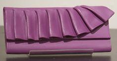 Purple ruffle clay wallet.