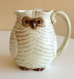 Vintage Fall Owl Figural Ceramic Pitcher by by MillCreekCollective, $32.00