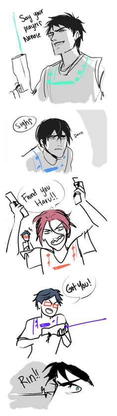 Playing laser tag (poor Sousuke just can't catch a break, LOL) ... part 1 ... From Ana ... Free! - Iwatobi Swim Club, sousuke yamazaki, sousuke, yamazaki, haruka nanase, haru nanase, haru, nanase, free!, iwatobi, rei ryugazaki, rei, ryugazaki, rin matsuoka, matsuoka, rin