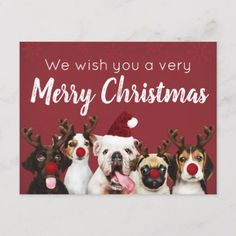 Wishing You A Merry Christmas Puppy Postcard - merry christmas postcards postal family xmas card holidays diy personalize