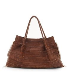 Brown Brick Leather Satchel #zulily #zulilyfinds