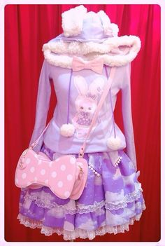 "pastelsweetlolita: ""Angelic Pretty Fancy Paper Dolls Parka and Misty Sky skirt My edit~Original source: http://sucre-dolls.tumblr.com """