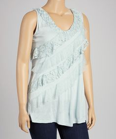 Take a look at this Allure Blue Lace Stripe Tank - Plus by Fast Turn Wholesale on #zulily today!