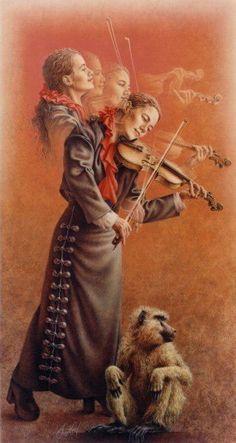 violinista pelo pintor Poen de Wijs - PInterest