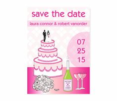 Save the Date with a Wedding Cake or a Bridal Shower invitation by Alli's Studio