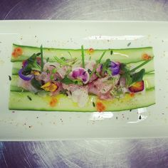 sea bass - Like the idea of using cucumber or zucchini ribbons to frame a salad