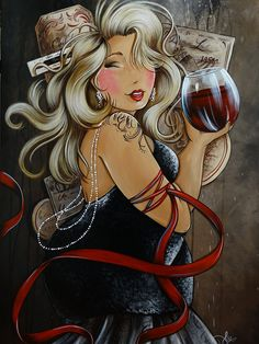 Diamond Painting Curvy Girl Red Wine and Ribbons Kit Plus Size Art, Fat Art, Wine Art, Isabelle, Diamond Art, 5d Diamond Painting, Fat Women, Renoir, Big And Beautiful
