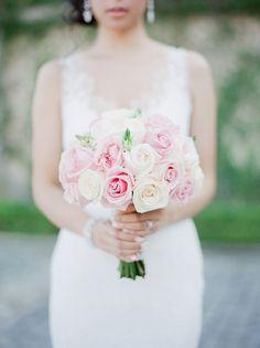 Elegant blush and ivory wedding bouquet: Floral Design: ARISTON FLOWERS - http://www.stylemepretty.com/portfolio/ariston-flowers Wedding Dress: Pronovias - http://www.pronovias.com/us/wedding-dresses/atelier-2016/ Photography: Julie Paisley Photography - juliepaisley.com   Read More on SMP: http://www.stylemepretty.com/2017/02/13/castle-venue-wedding/