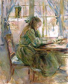 """bofransson: """" Berthe Morisot (1841-1895) Jeune fille écrivant """""""