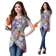 New Plus Size Vintage Priting Flower Fashion Elegant Women's Blouses Summer Shirts Irregular Round Neck Female Tops Clothes Casual Chic Outfits, Chiffon Shirt, Summer Shirts, Look Fashion, Blouses For Women, Women's Blouses, Couture, Shirt Style, Elegant Woman
