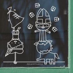 Saint Nicolas, Chalk Markers, Window Art, Reno, Creative Kids, Chalkboard, Crafts For Kids, Doodles, Christmas Decorations
