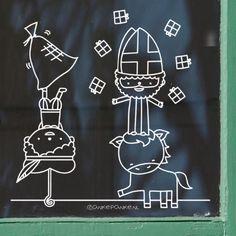 Sinterklaas circus raamtekening Chalk Markers, Reno, Creative Kids, Chalkboard, Crafts For Kids, December, Christmas Decorations, Doodles, Merry