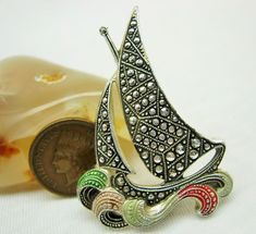 GERMANY BROOCH PIN Sailboat Retro VINTAGE Statement Jewelry rollover clasp #Unbranded