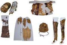 Clothes worn by Otzi the Iceman years ago include (clockwise from top left): hay-stuffed shoes, goat- and sheepskin coat, goatskin leggings, bear fur hat, grass matting and sheepskin loincloth.