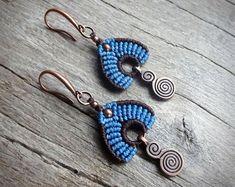Macrame earrings, handcrafted earrings, copper earrings