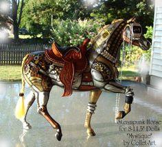 "2011 STEAMPUNK HORSE ""MYSTIQUE"" FOR 8""-11.5"" DOLLS LIKE BARBIE, PULLIP, FASHION ROYALTY, TINY KITTY, ETC."